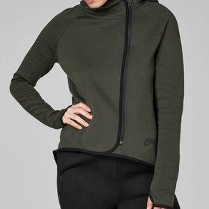 Nike Tech Fleece Green Full Zip Cape Hoodie